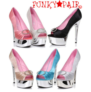 "Ellie Shoes | 609-Lauren 6"" Satin Peep Toe Pump"