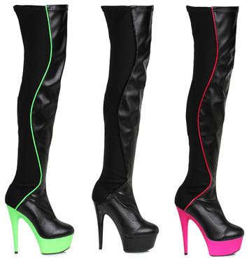"""609-Unique 6"""" Stripper Thigh High Boots  Ellie Shoes"""