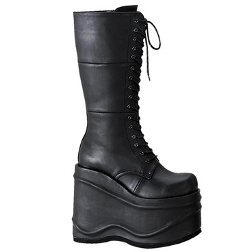Demonia WAVE-302, Women's Goth Cyber Platform Knee High Boots