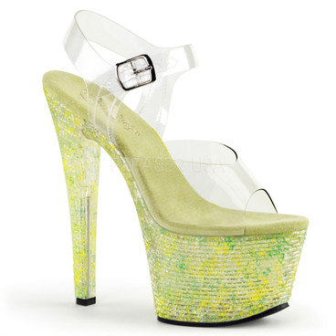 Crystalize-308LT, 7 Inch Ankle Strap with Crystal Tiles color lime