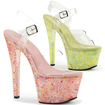 Pleaser Shoes | Crystalize-308TL, Ankle Strap with Crystal Tiles