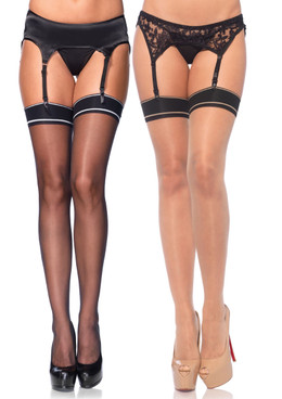 LA9997, Spandex Sheer Stockings with Band Top