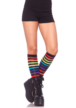 LA5601, Rainbow Striped Knee Highs