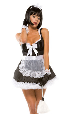 Sexy French Maid costume includes: Dress, Apron, Headband, Duster, Gloves and Panty. (Petticoat sold separately)