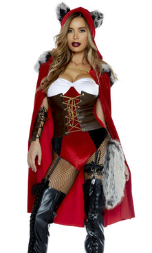 Storybook Character costume includes: Faux leather corset bodysuit with garter straps, matching cape, arm gauntlets, and faux fur tail.