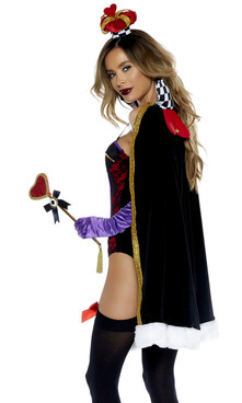 Luxurious Evil Queen  costume includes: Lace contrast velvet sweetheart bodysuit with garter straps, matching cape and gloves( crown sold separately ).