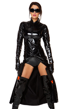 Movie Character costume includes: Zip front long line metallic jacket, high-waisted panty, matching gloves, and sunglasses. (TOY GUNS NOT INCLUDED)
