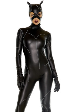 Sexy Cat Villain costume includes: Faux leather jumpsuit and matching mask with faux stitching detail.