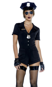Sexy Cop costume includes: Short sleeve romper, badge necklace accessory, and aviator glasses. (COP HAT, GLOVES AND STOCKING NOT INCLUDED)