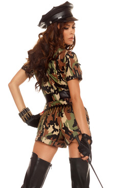 Sexy Soldier costume includes: Camo print halter crop top with screen print detail, matching mesh trimmed high-waisted panty. (GLOVES AND BULLET SASH SOLD SEPARATELY)