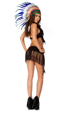 Sexy Native American costume includes: Flirty fringe-adorned crop top and matching cheeky bottom. (HEADDRESS SOLD SEPARATELY)