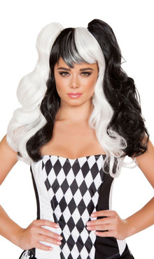 WIG104 Black and White Jester Wig