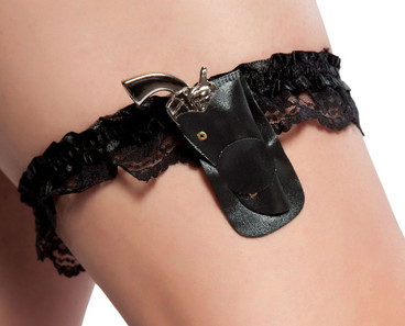 Garter with mini gun in holster