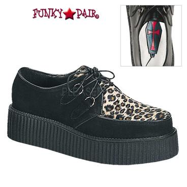 Demonia | Men Creeper-400F, Cheetah Fur Shoe