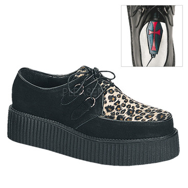Demonia Men Creeper-400, Cheetah Fur Shoe