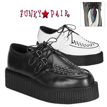 CREEPER-402L, Leather Basic Creeper Demonia Shoes Made by Demonia