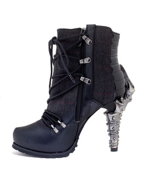 SHADE, Women's SteamPunk biker Ankle Boots | Hades inner side view