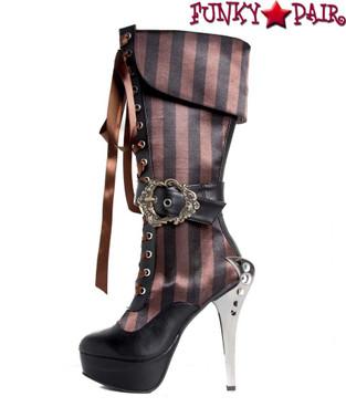 Hades | ETHEREAL Metal Heel Steampunk knee high boots