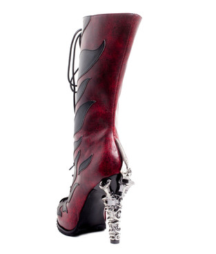 PYRA, 5 Inch Claw Heel with Fire Design Boots by Hades Back View
