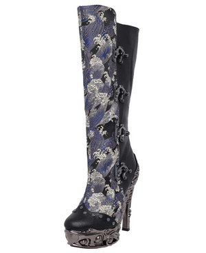 ARIANNA, Women's SteamPunk Victorian Knee High Boots by Hades