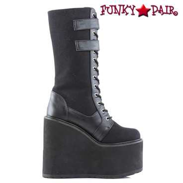 Demonia Swing-221, Wedge Double Buckles Strap Knee High Boots