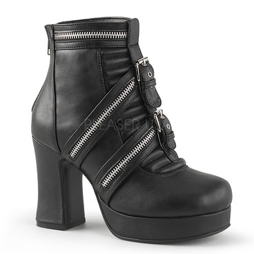 Gothika-50, 3.75 Block Heel Ankle Boots with Zipper Detail