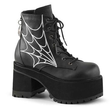 Ranger-105 Women's Block Heel Platform Boots with Web Design by Demonia