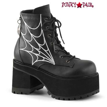Demonia | Ranger-105 Women's Block Heel Platform Boots with Web Design
