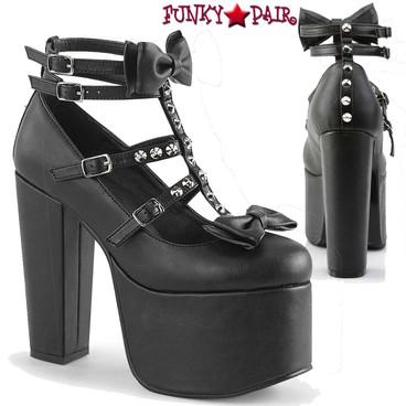 Demonia Women's | Torment-600, Block Heel T-strap Platform