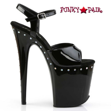 "Pleaser | Flamingo-809ABLS, 8"" Exotic Dancer Platform with Rhinestones"