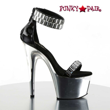 Pleaser | Adore-769RS, Ankle Cuff with Rhinestones Sandal