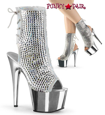 Pleaser | Adore-1018DCS, Ankle Boots with Diamond Cut Rhinestones