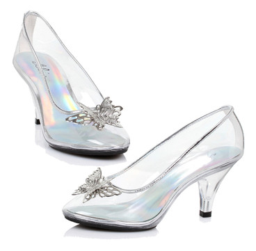 3 inch heel clear pump with butterfly accent