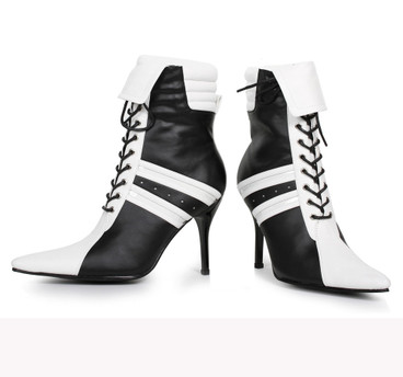 4.5 inch ankle boots with contrast color and front lace up