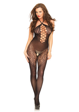 LA89188, Halter Bodystocking with Lace Accent