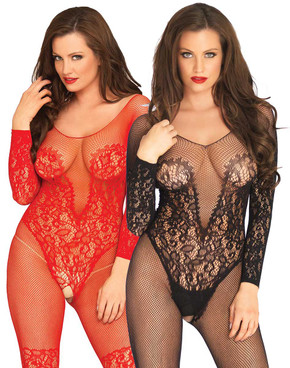 LA89190, Vine Lace Long Sleeve Bodystocking