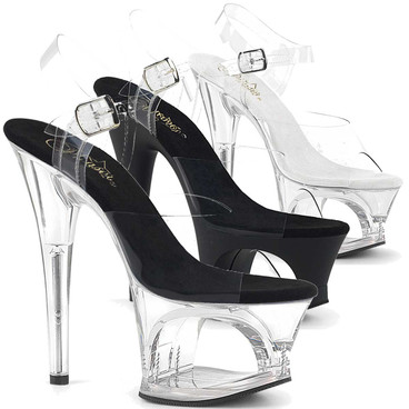 Moon-708, 7 Inch Cutout Platform Ankle Strap Sandal by Pleaser