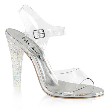 Clearly-408MG, 4.5 Inch Heel Ankle Strap with Glitters