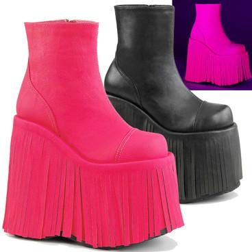 Rave Fringe Platform Ankle Boots by Demonia Slay-205
