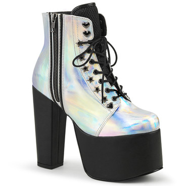 Silver Hologram Chunky Heel Platform Ankle Boots by Demonia Torment-712