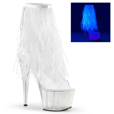 Adore-1017MFF, 7 Inch Marabou Fur Fringe Ankle boots by Pleaser