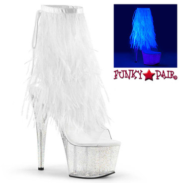Pleaser | Adore-1017MFF, 7 Inch Marabou Fur Fringe Ankle boots
