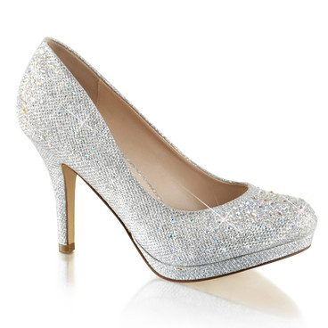 "Covet-02, 3.5"" Wedding Pump with Rhinestones Fabulicious"