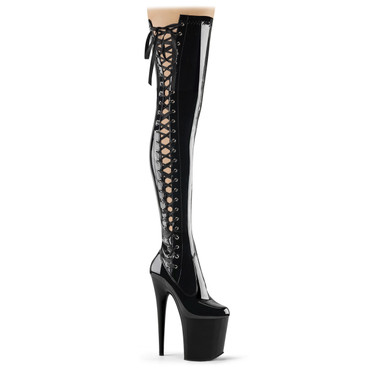 "Flamingo-3050, 8"" Fetish Thigh High Boots with Side Lace Up by Pleaser"