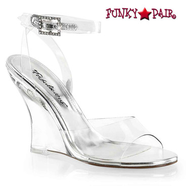 "Plesaer | Lovely-406, 4"" Clear Wedge Ankle Wrap Sandal"