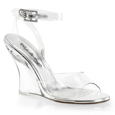 """Lovely-406, 4"""" Clear Wedge Ankle Wrap Sandal 