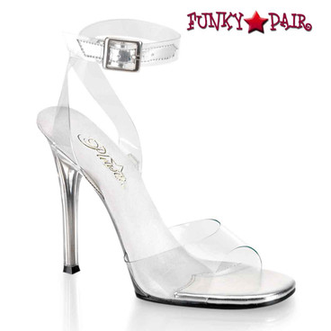 "Fabulicious | Gala-06, 4.5"" Clear Ankle Wrap Sandal"
