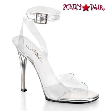 "Fabulicious | Gala-06, 4.5"" Clear Ankle Wrap Sandal"