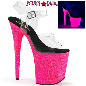Pleaser | Flamingo-808UVG, 8 Inch UV Reactive Glitters Platform Sandal