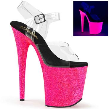 Flamingo-808UVG, 8 Inch UV Reactive Glitters Exotic Dancer Shoes Pleaser